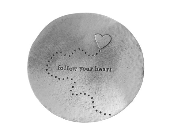 "Quirky Coo - Pewter trinket dish engraved with ""follow your heart"" with image of a heart"