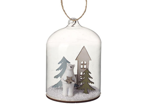 Polar Bear In Glass Hanging Decoration