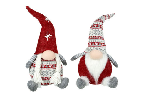 Sitting Grey & Red Christmas Gnomes