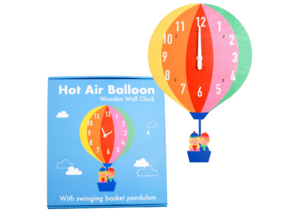 Quirky Coo Hot Air Balloon Wooden Clock - gifts scottish dundee, perth, aberdeen