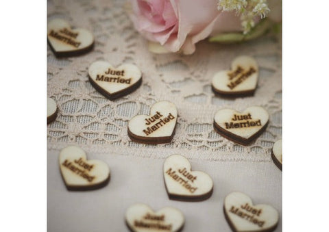 "Wooden Table Confetti - ""Just Married"""