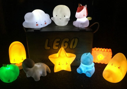 Cute Night Lights - Unicorn, TRex, Cloud, Pear, Apple, Ghost, Moon & more