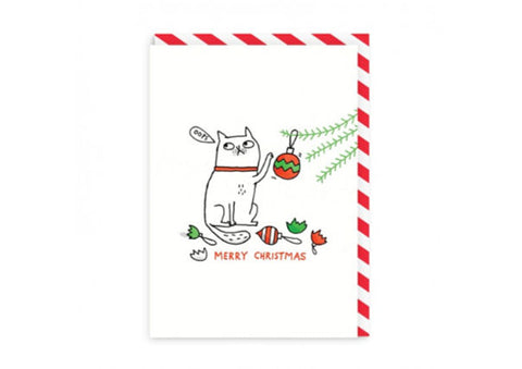 Merry Christmas Cat - Christmas Card