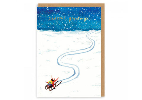 Sledging Seasons Greetings - Christmas Card
