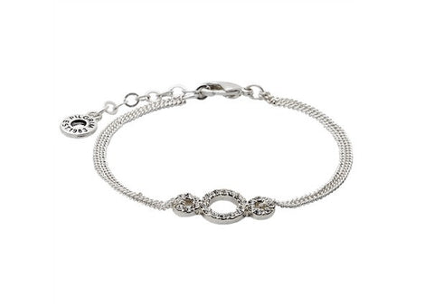 Silver or Rose Gold Circle Crystal Bracelet by Pilgrim