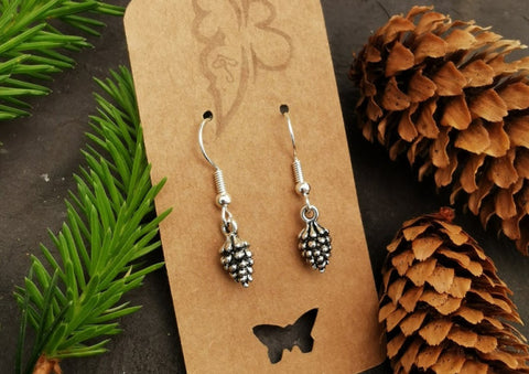 Silver plated Pine Cone Earrings