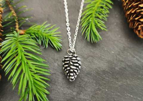 Silver plated Pine Cone Necklace