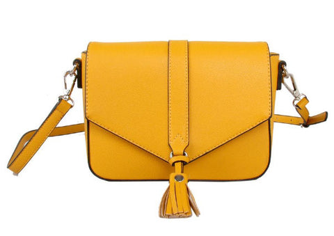 Mustard Cross Body Bag with Tassel by Red Cuckoo