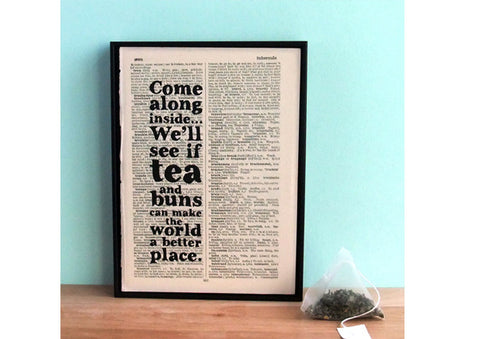 """Tea and buns"" Book Print by Bookishly"