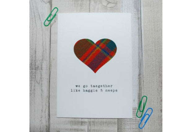 Go together like Haggis & Neeps Card - quirky coo, gifts, cards, dundee