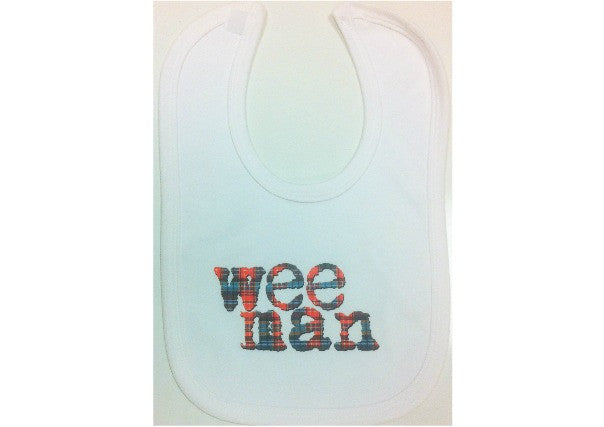 baby bib scottish wee man - quirky coo, gifts, cards, dundee, scotland