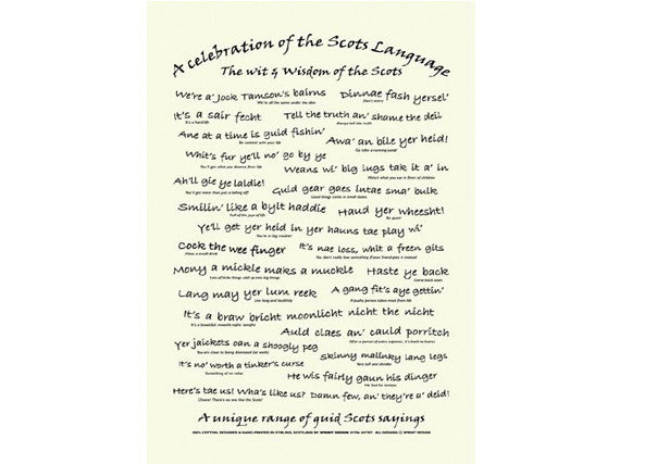 Scots Language Teatowel with phrases and saying in Scots dialect. Available at Quirky Coo