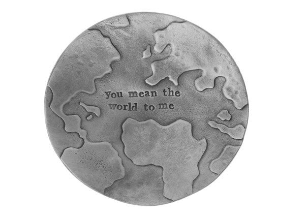 "Quirky Coo - Pewter dish engraved with ""you mean the world to me"" by Kutuu"