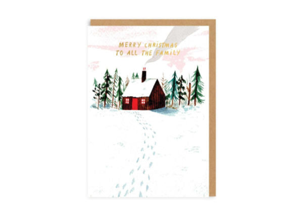 To All The Family Woodland Log Cabin - Christmas Card