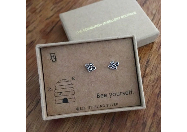 bee stud earrings - quirky gifts, scottish, jewellery, dundee, perth, aberdeen