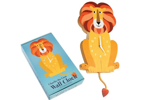 Charlie the Lion Wall Clock with swinging tail