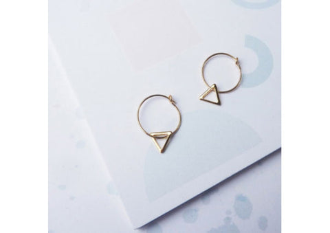 Triangle on Hoop Earrings by Custom Made