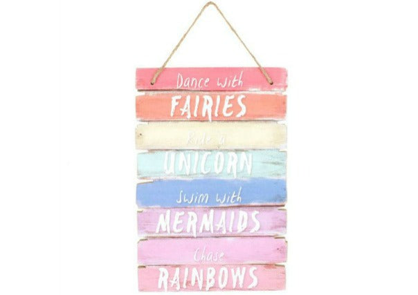 Dance with fairies, ride a unicorn hanging sign - quirky coo, scottish gifts, perth, dundee