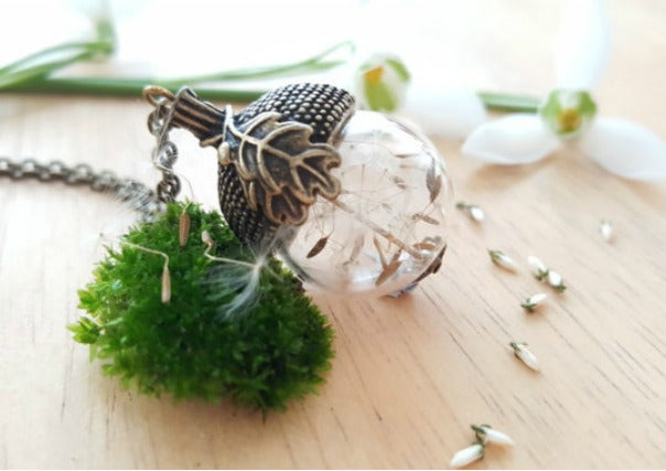 quirky coo dandelion wishes acorn pendant - scottish gifts dundee perth aberdeen
