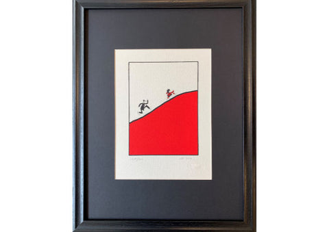 Dennis the Menace Chased up a hill by Copper Framed Silkscreen Print