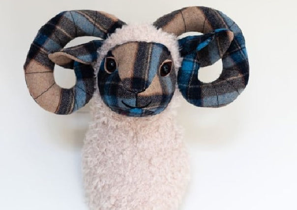 dora designs sheep ram trophy head - quirky coo, scottish gifts, dundee, perth, aberdeen
