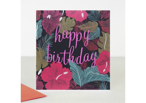 Happy Birthday Dark Flowers - Caroline Gardner Birthday Card