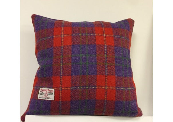 Red Purple Harris Tweed Cushion with insert, quirky coo, gifts, dundee