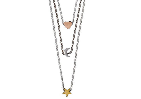 cf11187407339c Heart, Moon and Stars Drop Necklace by Pilgrim