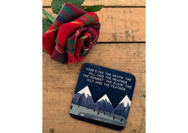 quirky coo scottish gifts - here's tae the heath' the hill and the heather coaster
