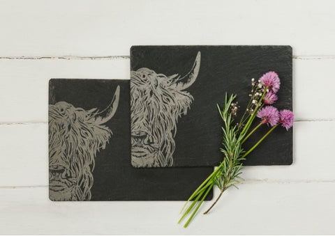 Pair of Slate Highland Cow Place mats by Just Slate Company