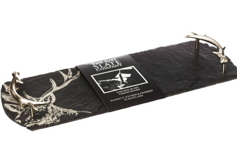 Stag Slate tray with antler handles by Just Slate Company