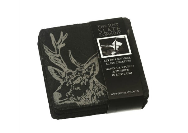 Quirky Coo - stag Slate coasters by Just Slate Company - gifts dundee perth aberdeen