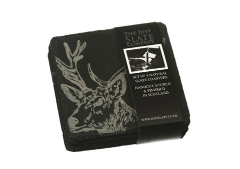 4 Slate Stag Coasters by Just Slate Company