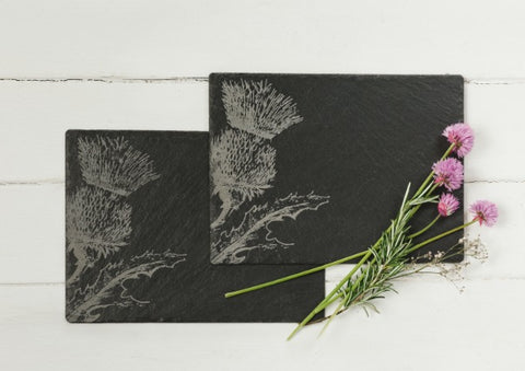 Pair of Slate thistle place mats by Just Slate Company