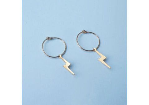 Lightning Bolt charms on Hoop Earrings by Custom Made