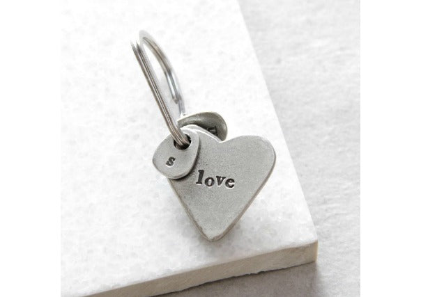 love heart shaped keyring - quirky coo, gifts perth dundee