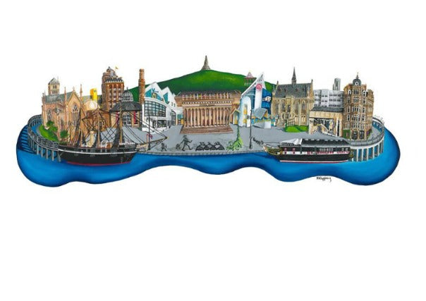 discovering dundee print by Nik Kleppang - quirky coo, gifts, prints, pictures, dundee, perth