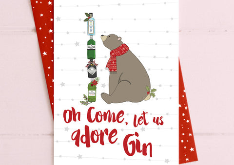 Oh Come Let Us Adore Gin....Christmas Card