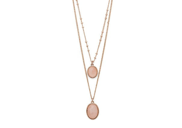 Pilgrim jewellery rose gold plated rose quartz double necklace - quirky coo, cards gifts perth dundee aberdeen