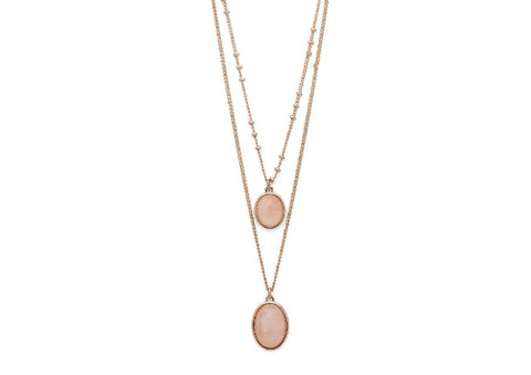 Rose Gold double necklace with rose quartz by Pilgrim