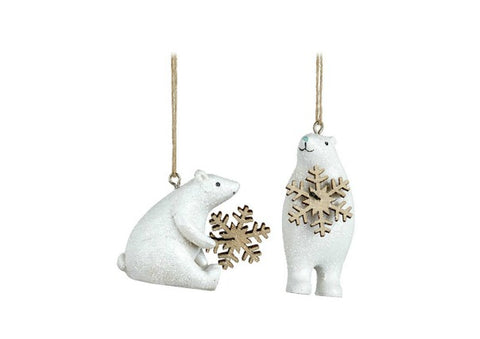Hanging Polar Bear Christmas Decorations