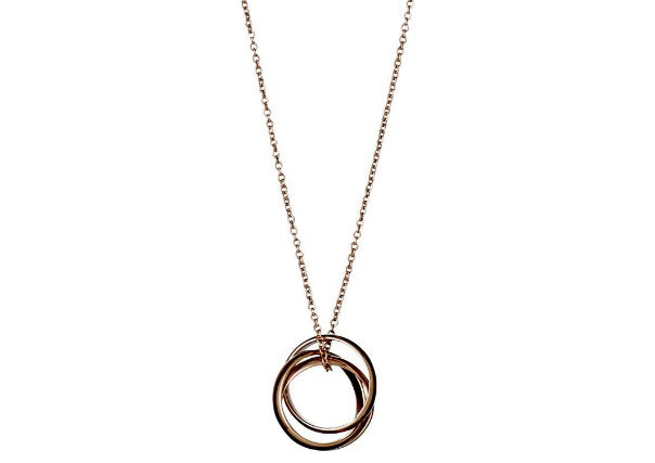 Pilgrim jewellery rose gold plated 3 hoop necklace - quirky coo, cards gifts perth dundee aberdeen