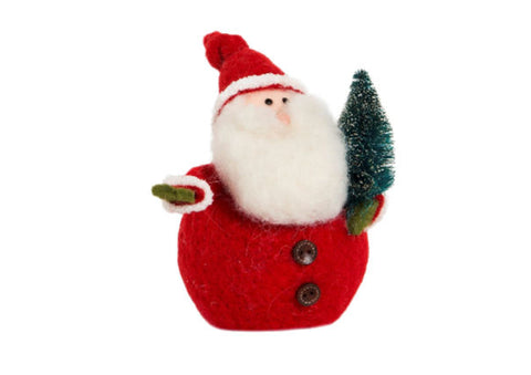 Santa with Christmas Tree Felt Decoration