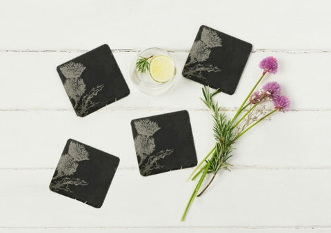 4 Slate Thistle Coasters by Just Slate Company