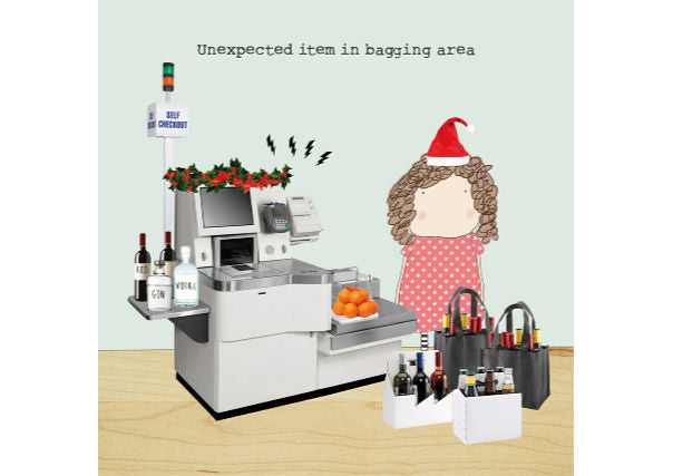 christmas unexpected item in bagging area card - quirky coo, gifts, perth dundee