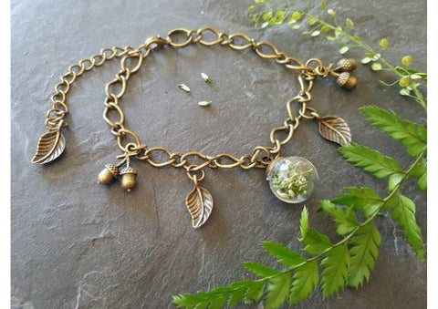 Scottish lucky white heather charm bracelet