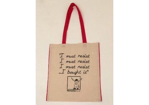 """I must resist...."" Quirky Coo Cotton Shopper Bag"
