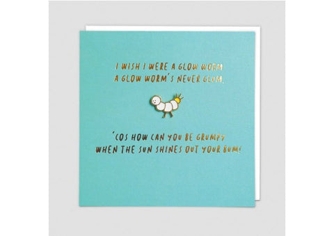 """Glow worm"" Card with enamel pin badge"