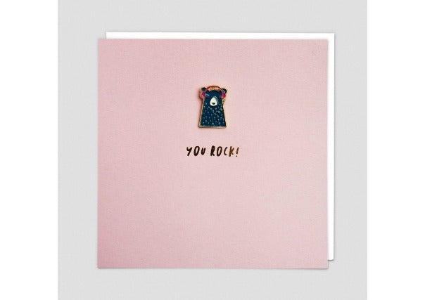 You Rock Card with bear enamel badge- Quirky Coo, Dundee perth gifts cards