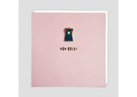 You Rock Card with enamel pin badge